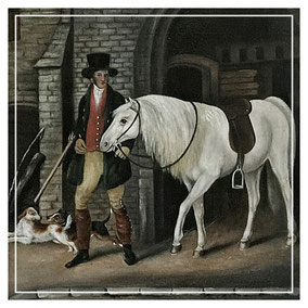 Regency period gentleman with horse and dogs