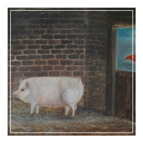 Naive folk art portrait of a pig and cockrell