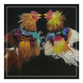 Folk art feather picture of cockerels