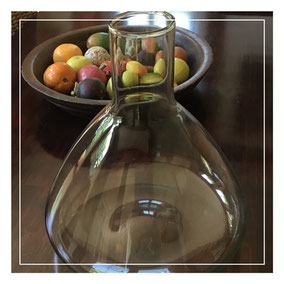 Hand blown clear glass demijohn
