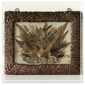 Scottish souvenir ware fern picture in pine cone frame