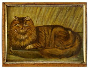 Naive folk art portrait of a cat