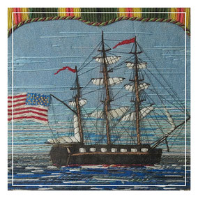 Sailors woolwork with American Star and Stripes Flag