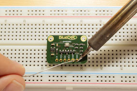 Assembly: Solder BlueDot Board to header pin