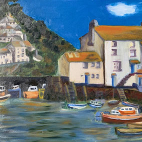 By Mike Sykes 'Polperro Harbour' In the south of Cornwall. Water mixable oil