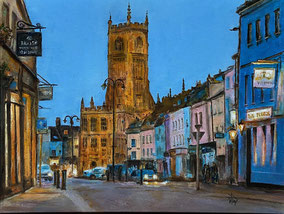 By Heather Teather CIRENCESTER AT DUSK  The lights just coming on and there was hardly any traffic at that time. The strong contrasting colours encouraged me to complete this oil painting.