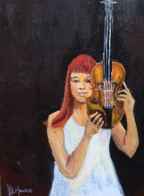 By Penny Hawkes 'Girl with a violin' done during lockdown