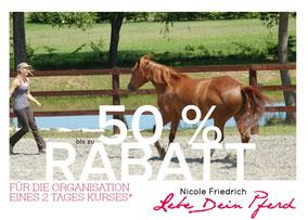 Rabatte für Kursorganisatoren Natural Horsemanship Kurse