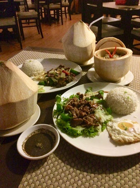Lok lak beef (Cambodian style stir fried beef) &  Amok fish (Steamed curried fish)