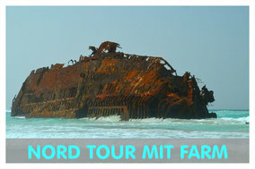 schiffswrack Cabo Santa Maria auf Boa Vista mit Hinweis auf Nord Tour von Boa Vista Tours