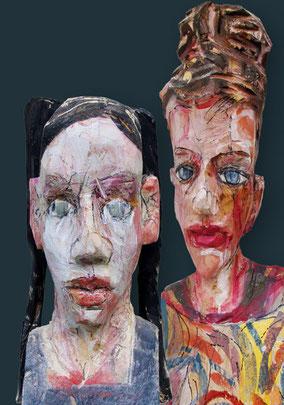links: »Kopf« 2009, lebensgroß - rechts: »Büste« 2014, 64cm