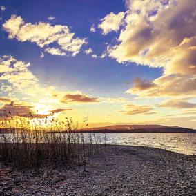 Ein wunderschöner Sonnenuntergang von der äußersten Spitze der Insel Reichenau in Richtung Halbinsel Höri und Ostschweiz.