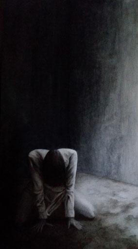 """Schilderij acryl 65x122 cm, titel """"Wanhoop"""""""