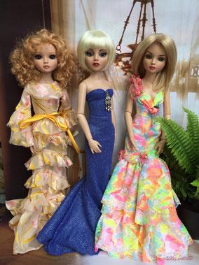 Ellwoyne Goldie, Amber Summer, Ellowyne Willow in the Ballroom. long gowns