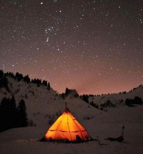 Bivouac hivernal en tente TIPI
