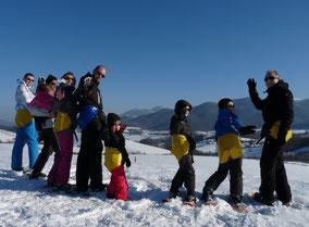 raquettes à neige en famille à Izaux