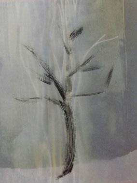 Monoprint: Baum