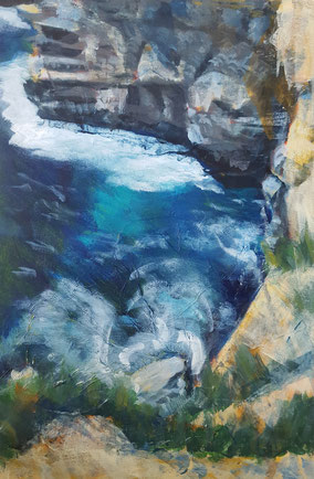 """Dancing Ledge #2"" 30.5 x 45.9cm mixed media on cradled board. DL02mm"