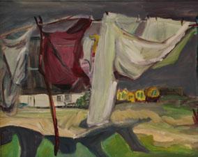 """""""Wäscheleine, Neuendorf, Hiddensee"""", 2015, Acryl, 40 x 50 cm"""