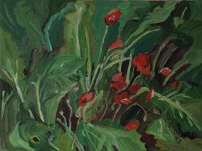 """Rüben mit Mohn"", 2017, Acryl, 60 x 80 cm"
