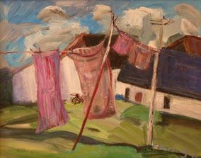 """""""Wäsche in Neuendorf"""", 2020, Acyl, 40 x 50 cm"""