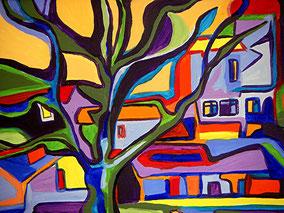 """""""Blick aus dem Fenster in Vitte"""", 2000, Acryl, 40 x 50 cm"""