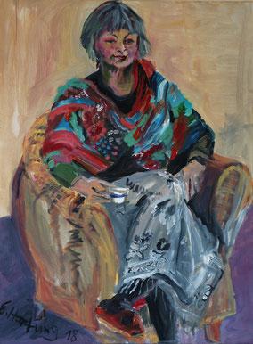 """""""Frau im Sessel"""", 2018, Acryl, 80 x 60 cm"""