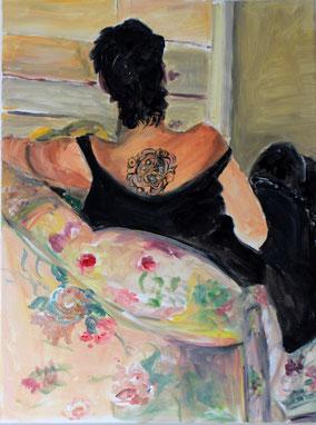 """Im Sessel"", 2017, Acryl, 80 x 60 cm"