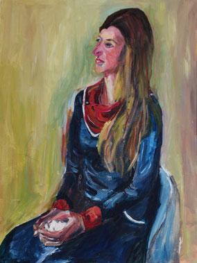 """Kreidefrau"", 2016, Acryl, 80 x 60 cm"