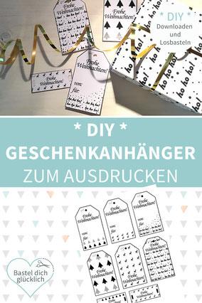 DIY Geschenkpapier, Geschnekpapier selber machen, Geschenkpapier drucken, Geschenkpapier Weihnachten, Tags, Geschenkanhänger selber machen
