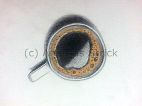 Kaffee, Aquarellstifte auf Papier