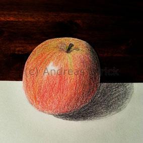 Apfel, Aquarellstifte auf Papier