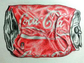Zerdrückte Coca-Cola-Dose, Aquarellstifte auf Papier