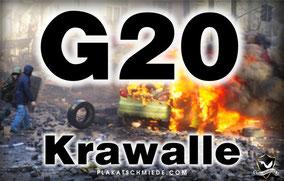 G20-Krawalle, brennendes Auto