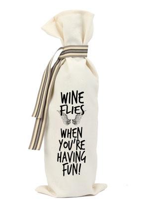 """Wijnzak """"Wine flies when you're having fun"""", origineel cadeau, Zuid-Afrika, verjaardagscadeau, feestdagen"""