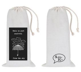"Kado sakkie middelgroot ""rain is just confetti from the sky"", origineel cadeau, Zuid-Afrika, verjaardagscadeau, feestdagen"