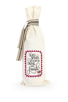 """Wijnzak """"The best wines are the ones we drink with friends"""", origineel cadeau, Zuid-Afrika, verjaardagscadeau, feestdagen"""
