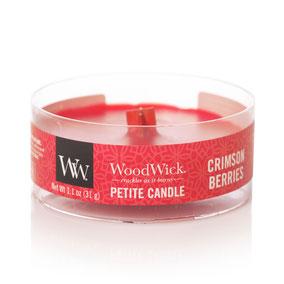 Woodwick Petite candle crimson berries, Woodwick candles, Woodwick kaars, Woodwick België, knetterkaars, houten lont, knisperen, haardvuur, geurkaarsen.
