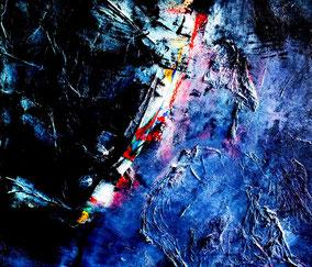blauvogel flieg, Acryl und Materialmix, Juli 2012, als Leinwanddruck erhältlich (Größe variabel)