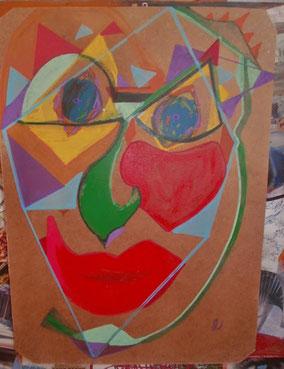 """La Galerie des Monstres """"GM003"""", peinture sur bois de récup"""