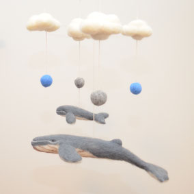 Deko Mobile aus Filz, Wal Mobile, Mobile Wale, Deko zum Aufhängen, Filztiere zum Aufhängen, Wanddeko