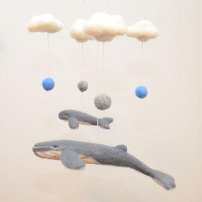 Deko Mobile aus Filz, Wal Mobile, Mobile Wale, Deko zum Aufhängen, Filztiere zum Aufhängen, Wanddeko, Kinderzimmerdeko