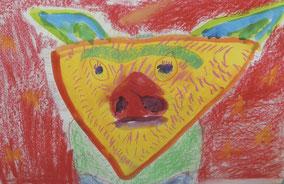 動物の顔(水彩・パステル)
