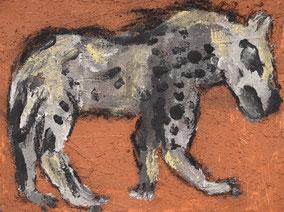 古代の壁画(ベニア板、赤土、炭、チョーク)