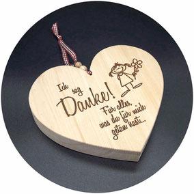 Holz Herzen mit Laser Gravur Text und Beschriftung nach Wunsch