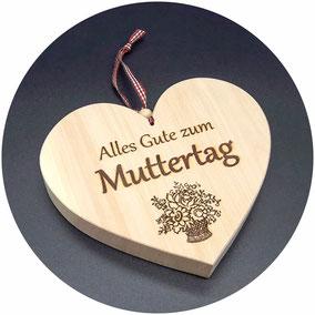 Herz Muttertag Holz Zirbe Geschenk Muttertagsgeschenk Geschenk zum Muttertag