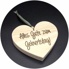 Holz Geschenk zum Geburtstag Zirben Herz Geschenkidee Geburtstagsgeschenk