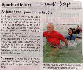 OUEST FRANCE 13 SEPT. 2014 -Que de beaux athlètes! N'est ce pas Jean Luc, Nadine, Fanny, Géraldine, Christian et Marie?