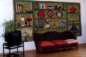 Keine Geld für Möbel?  - dann ein Wohnzimmerschrank in Acryl auf Packpapier - sieht gut aus und ist billig !