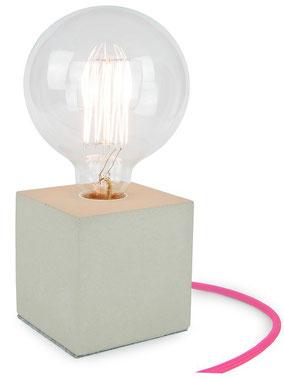 "Betonlampe Cube mit Textilkabel ""Pink Fuchsia"""